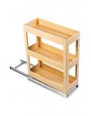 SilverBell Plus 12X20X22 Aluminium Sandal Wood Finsih Pullout Organiser 3 Shelf with Base Slide