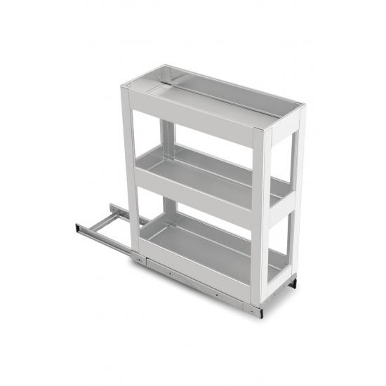 SilverBell Plus 6X20X22 Aluminium SS Finsih Pullout Organiser 3 Shelf with Base Slide