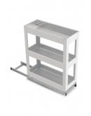 SilverBell Plus 4X20X22 Aluminium SS Finsih Pullout Organiser 3 Shelf with Base Slide