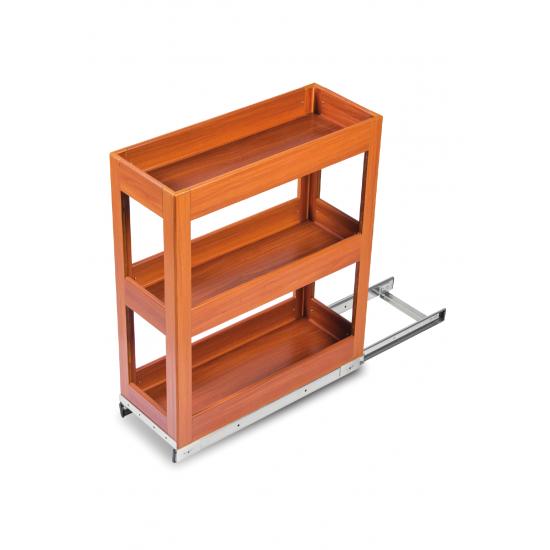 SilverBell Plus 12X20X22 Aluminium Teak Wood Finsih Pullout Organiser 3 Shelf with Base Slide