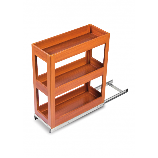SilverBell Plus 4X20X22 Aluminium Teak Wood Finsih Pullout Organiser 3 Shelf with Base Slide