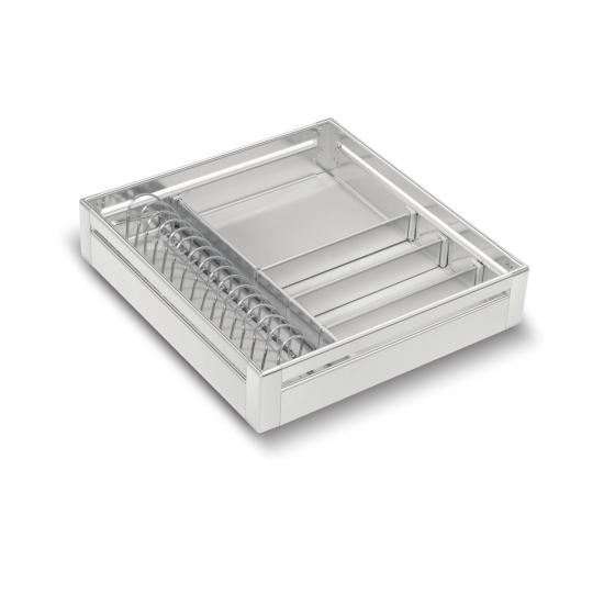 SilverBell Plus 15X20X4 Aluminium SS Finish Cup&Saucer Kitchen Basket