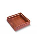 SilverBell Plus 21X20X4 Aluminium Teak Wood Finish Plain Kitchen Basket