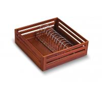 SilverBell Plus 21X20X6 Aluminium Teak Wood Finish Plate Kitchen Baske...